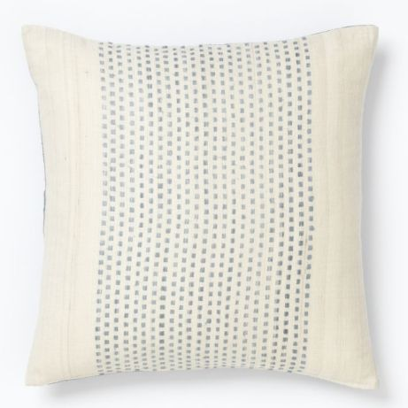 West Elm Embroidered Blue Dot Pillow