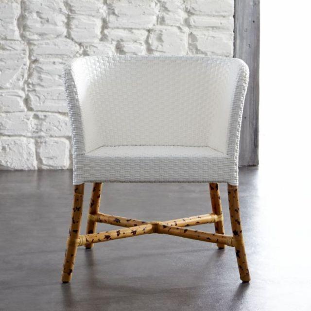 Como White Woven Chair