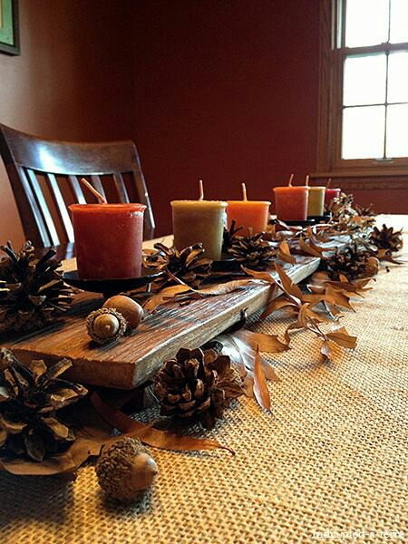 DIY Wood Slab Centerpiece