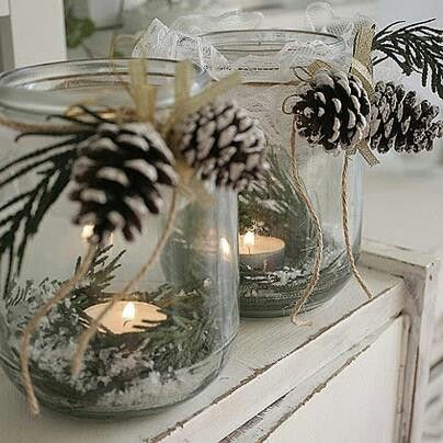 Mason Jar Pinecones