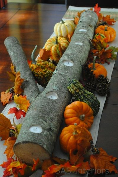 Tree trunk candle centerpiece