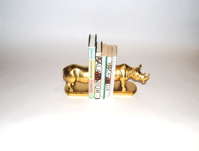 Gold Rhino Bookend