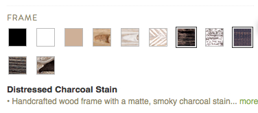 Minted Frame Options