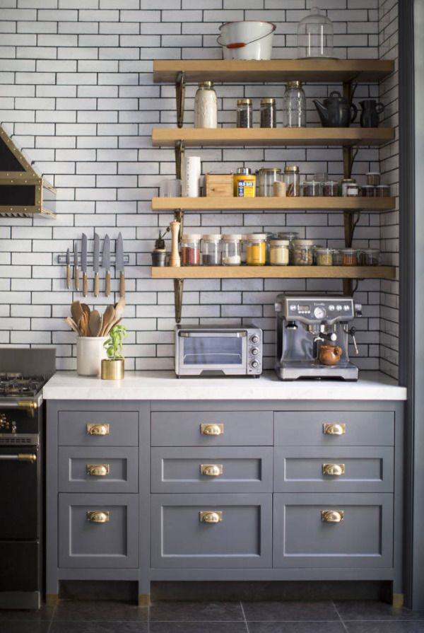 Grey Kitchen Cabinets Wood Shelves