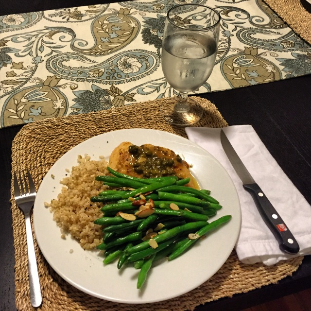 Chicken Piccata with Green Beans Almondine