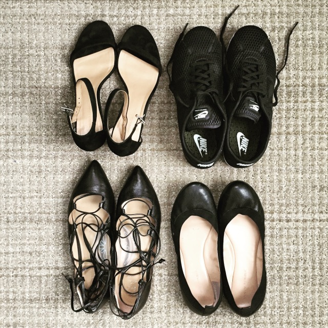Packing ALL the black shoes